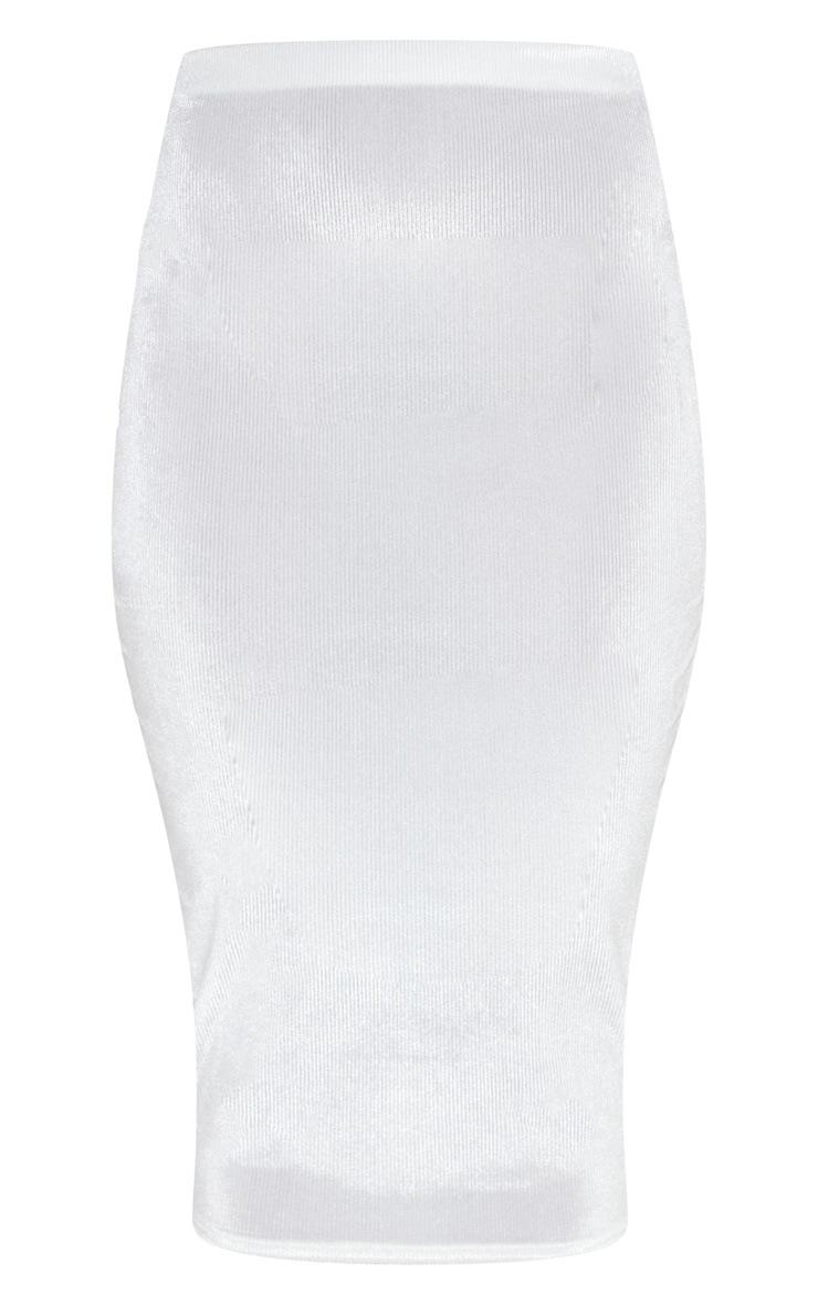 White Velvet Midi Skirt  3