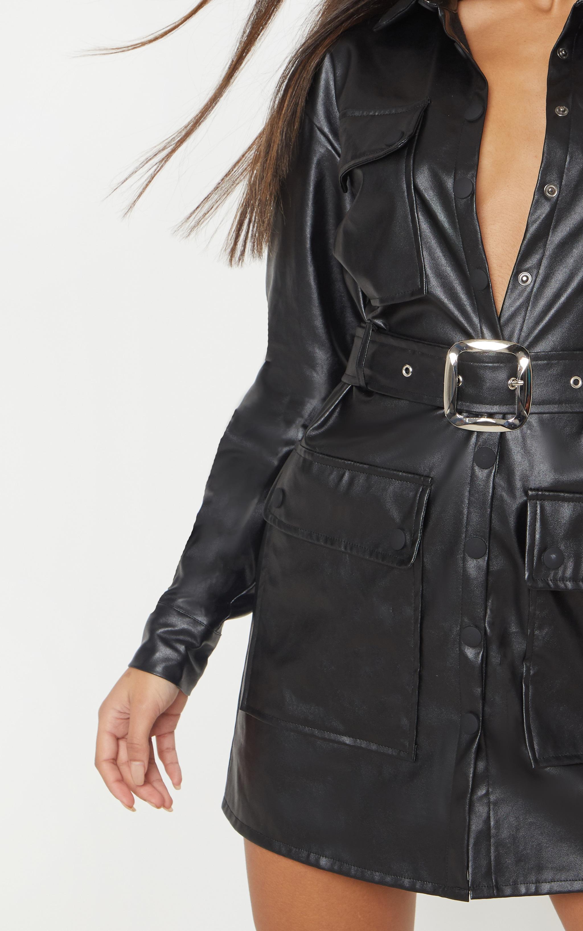 Black Faux Leather Pocket Belt Shift Dress Prettylittlething