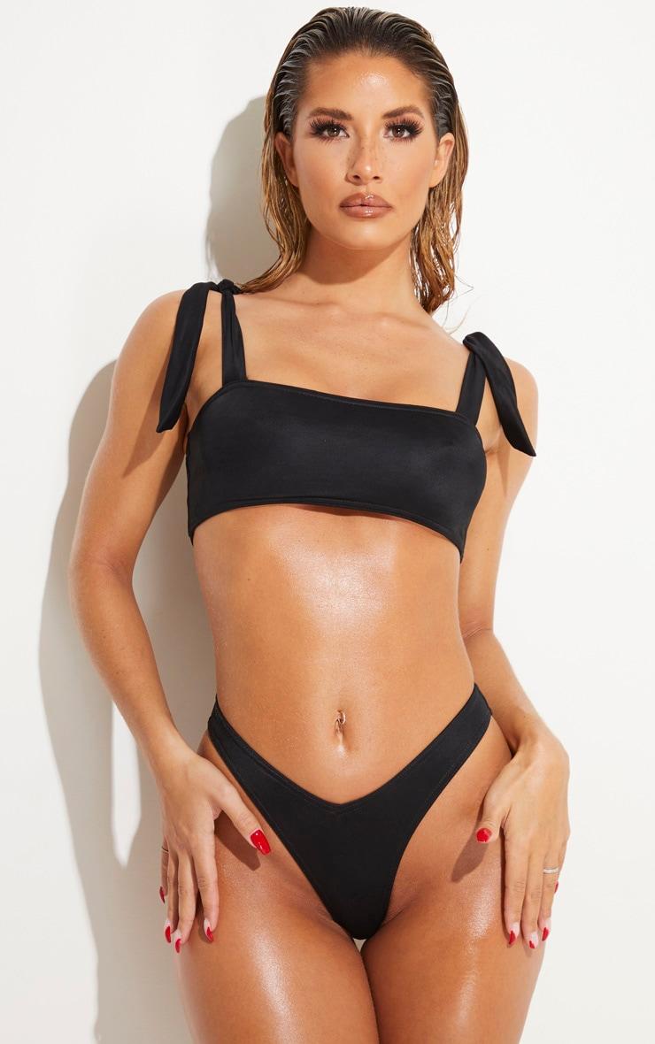Black Bow Shoulder Bikini Set 1