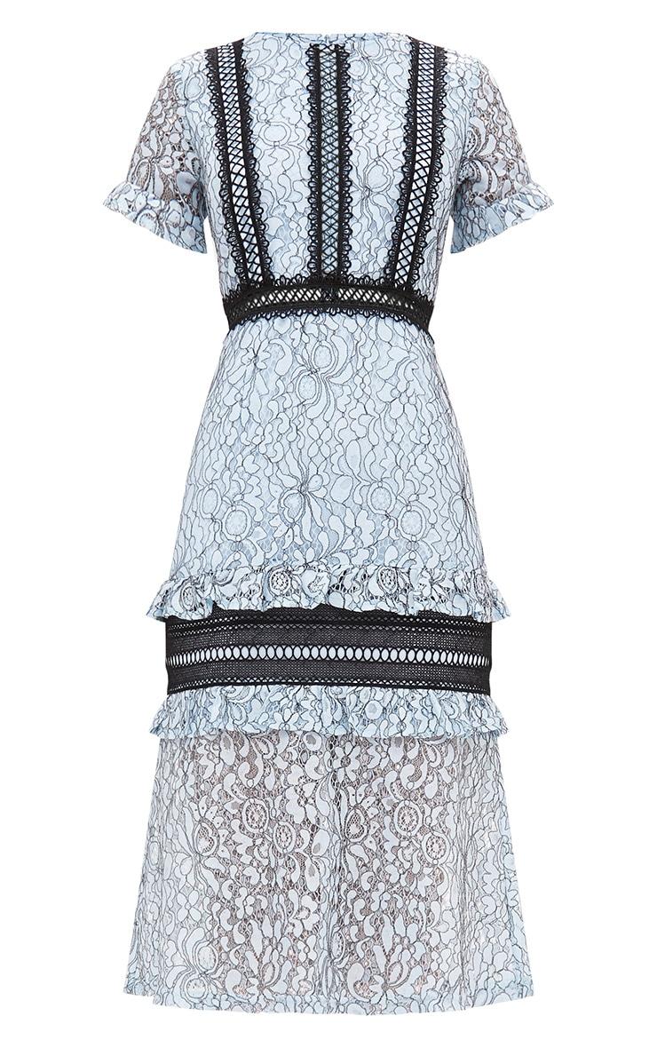 Dusty Blue Lace Ruffle Detail Midi Dress 3