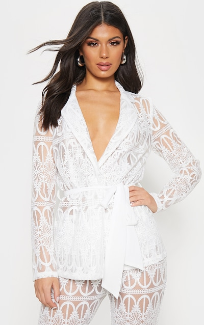 608ad388488 White Sheer Embroidered Jacket