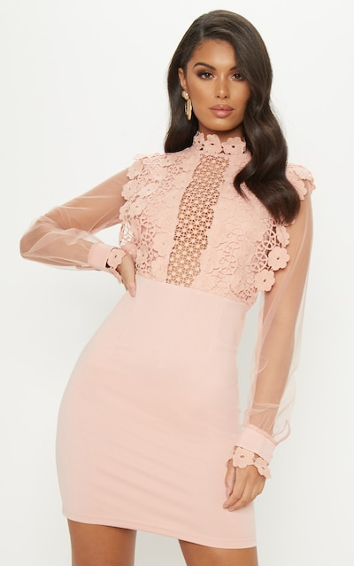 8b47fedad3 Dusty Pink Lace Panel Sheer Sleeve Bodycon Dress