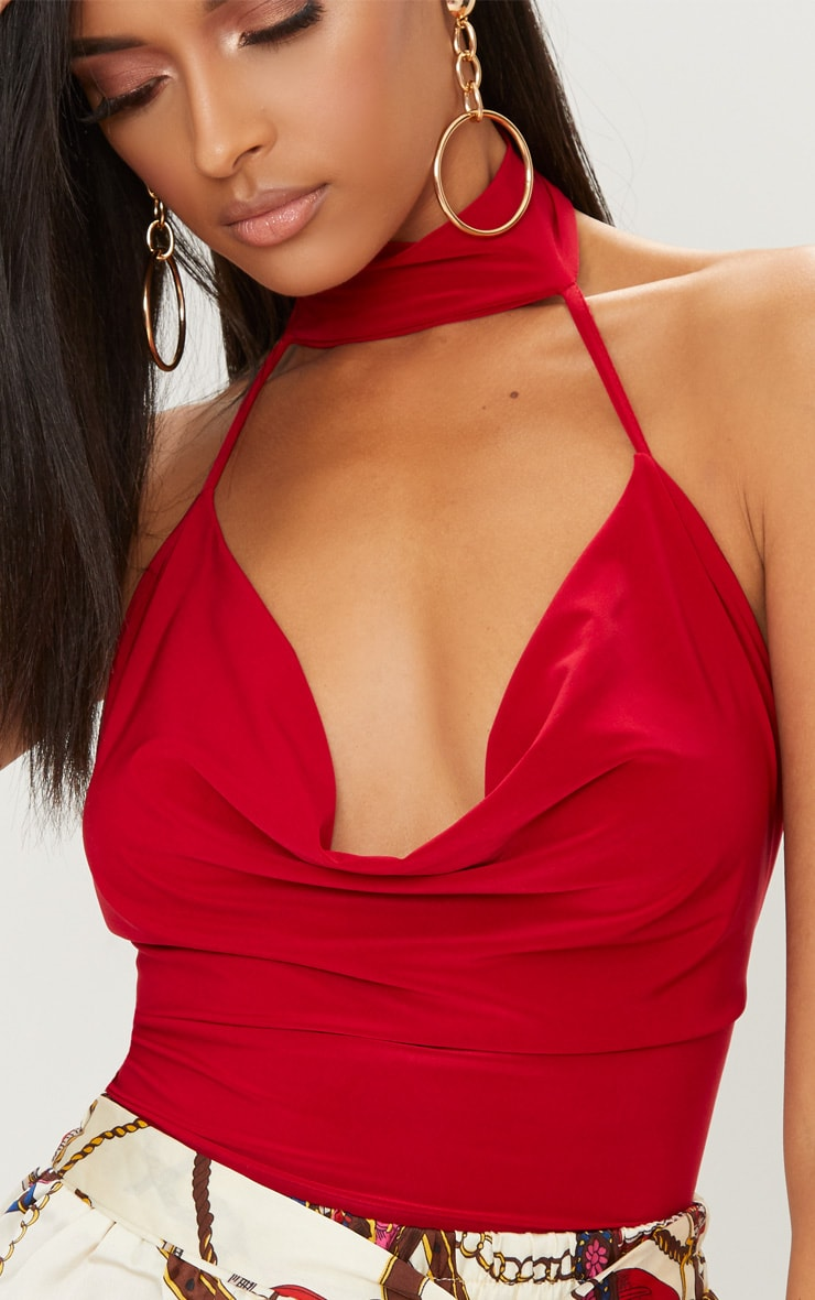 Red Slinky Cowl Neck Thong Bodysuit 5