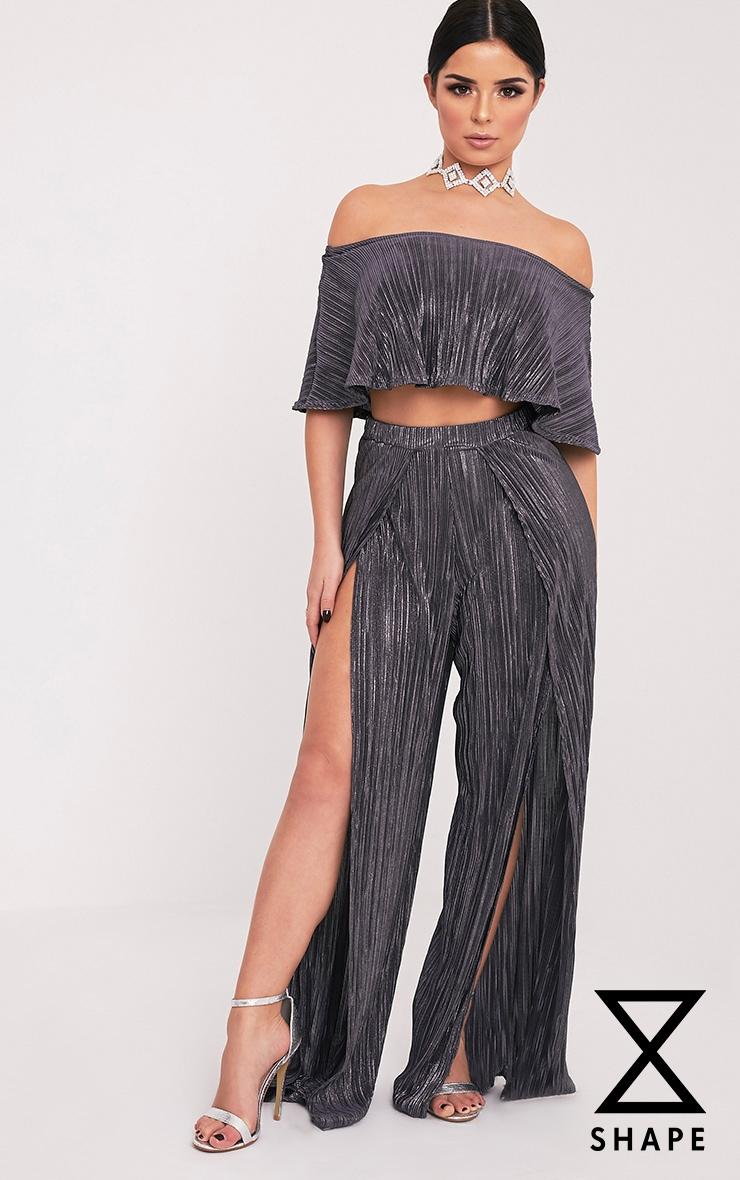Shape Madaline Grey Split Front Metallic Trousers 1