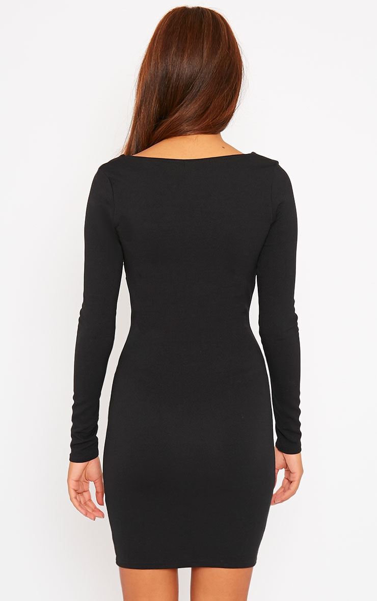 Roz Black Plunge Mini Dress 2
