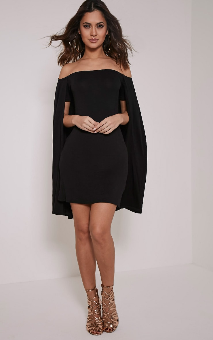 Louysa Black Bardot Cape Bodycon Dress 1