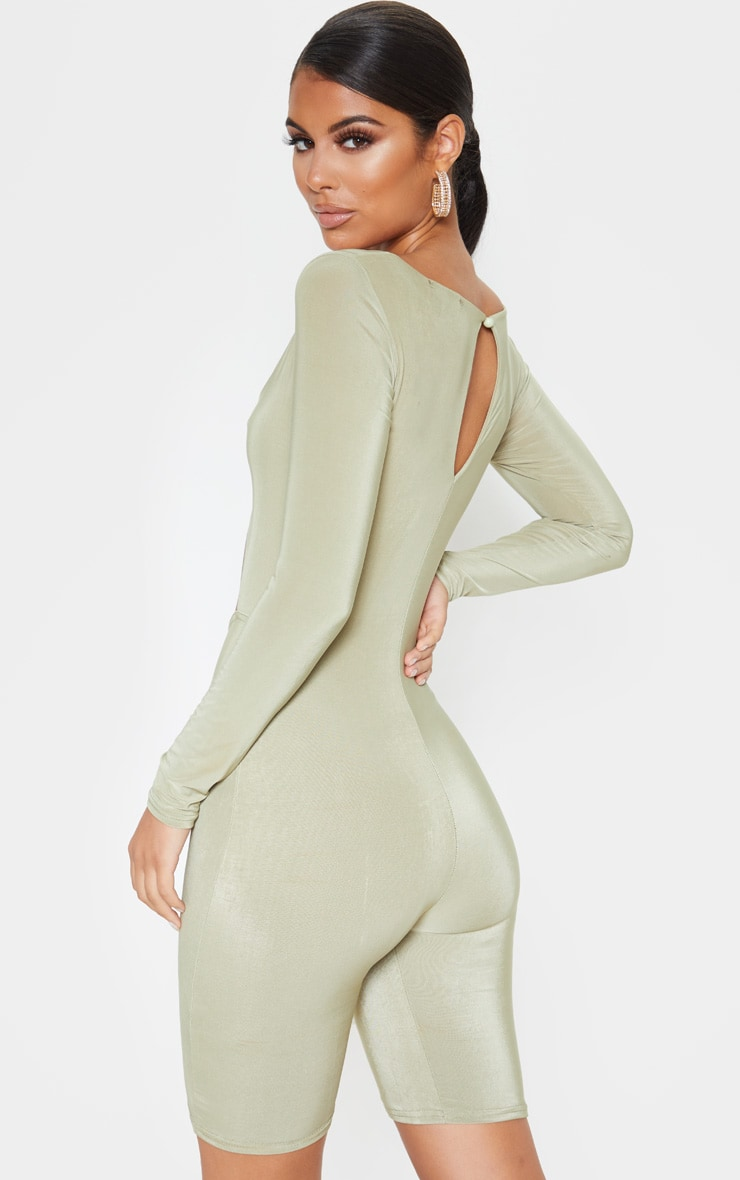Sage Khaki Cut Out Long Sleeve Unitard 2