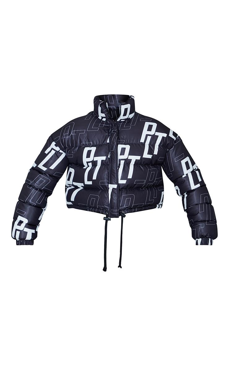 PRETTYLITTLETHING Black Retro Logo Cropped Puffer 5