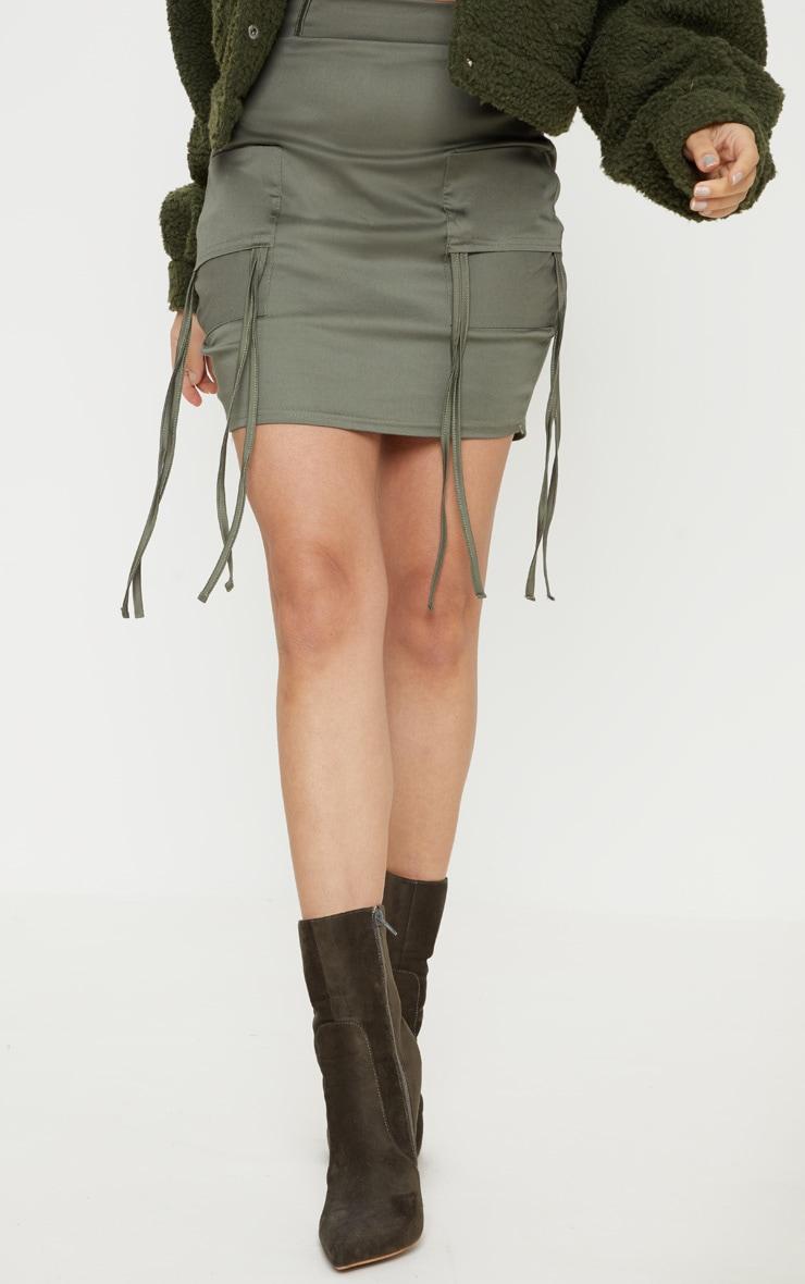 Petite Khaki Fitted Cargo Mini Skirt 2