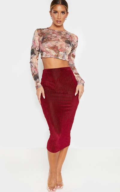 Burgundy Striped Velvet Midi Skirt