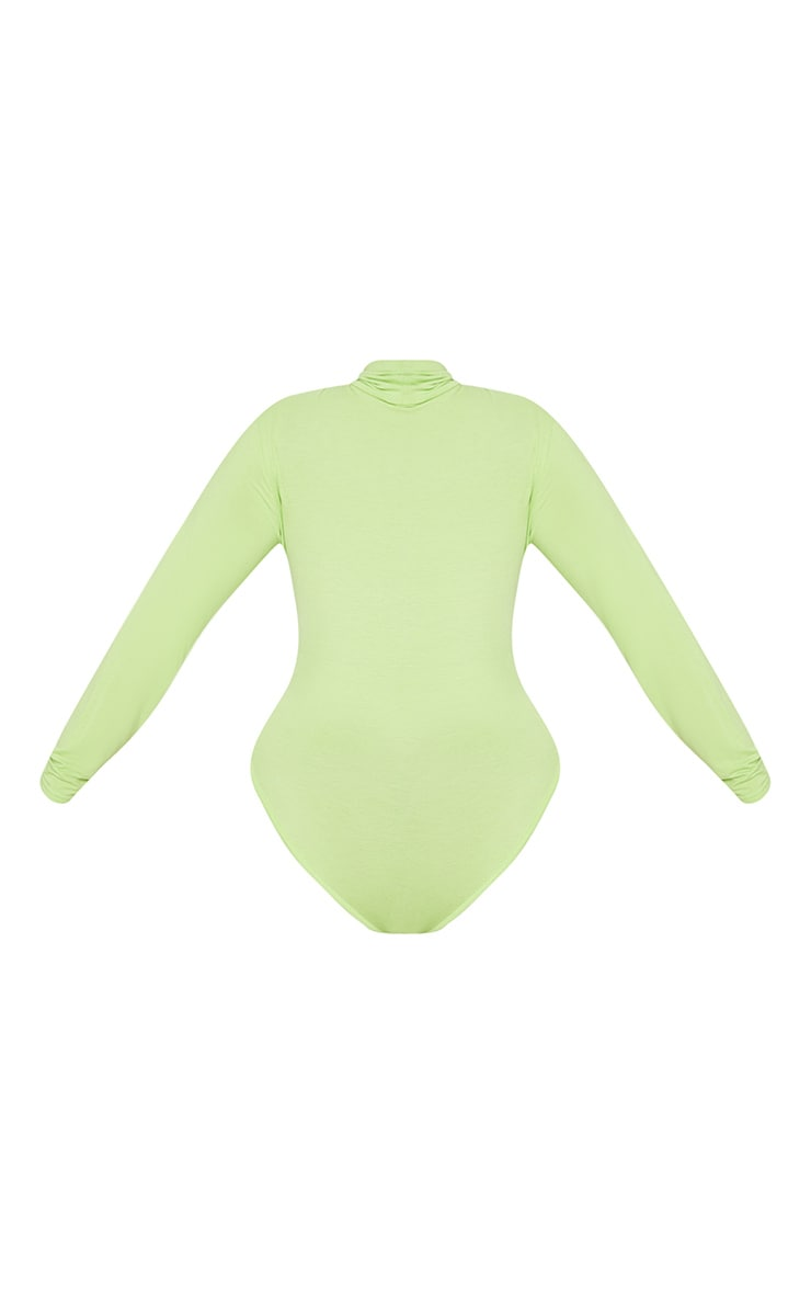 Plus Neon Lime Basic Roll Neck Long Sleeve Bodysuit 3