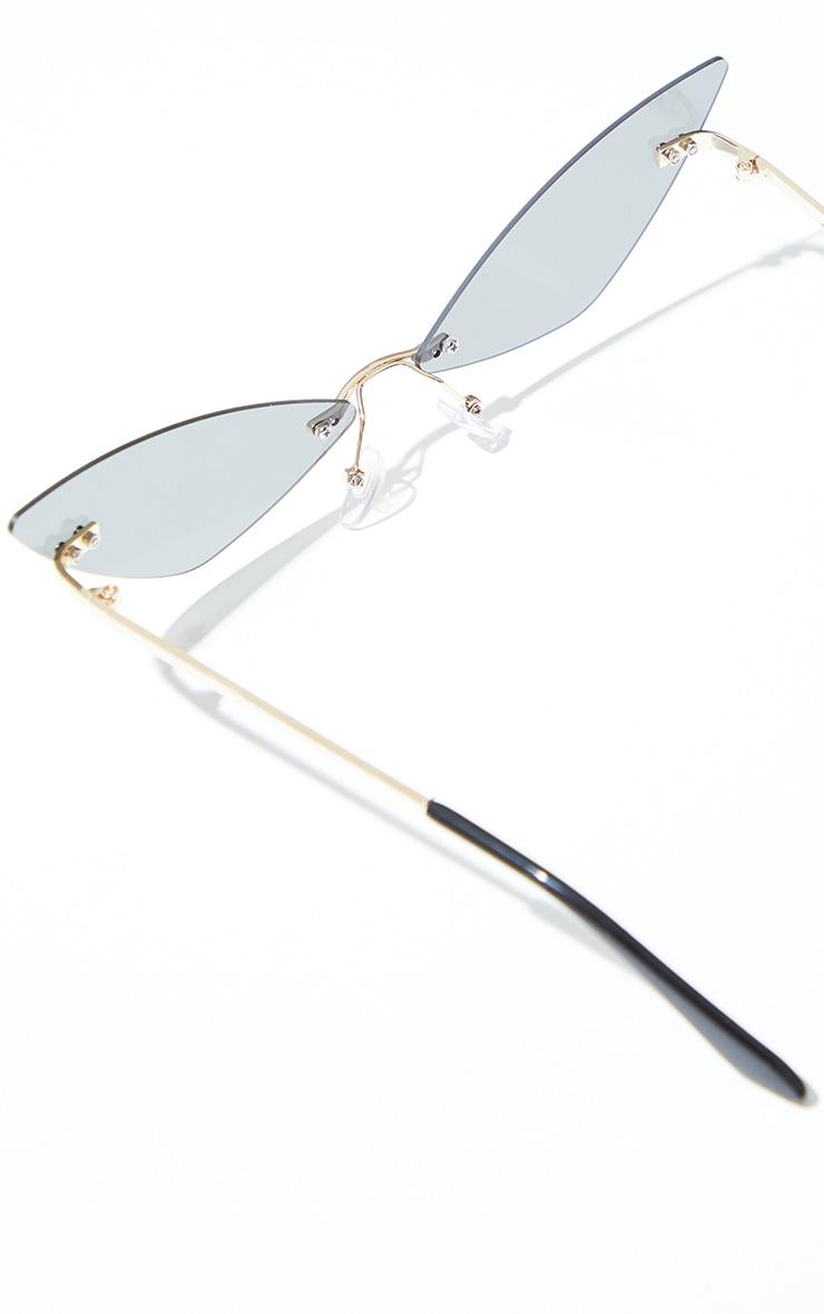 Brown Frameless Extreme Cat Eye Sunglasses 3