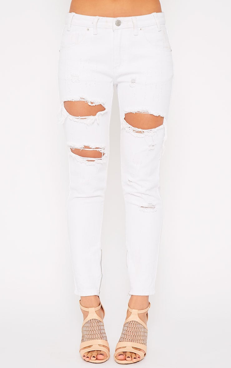 Miranda White Ankle Zip Mom Jeans 4