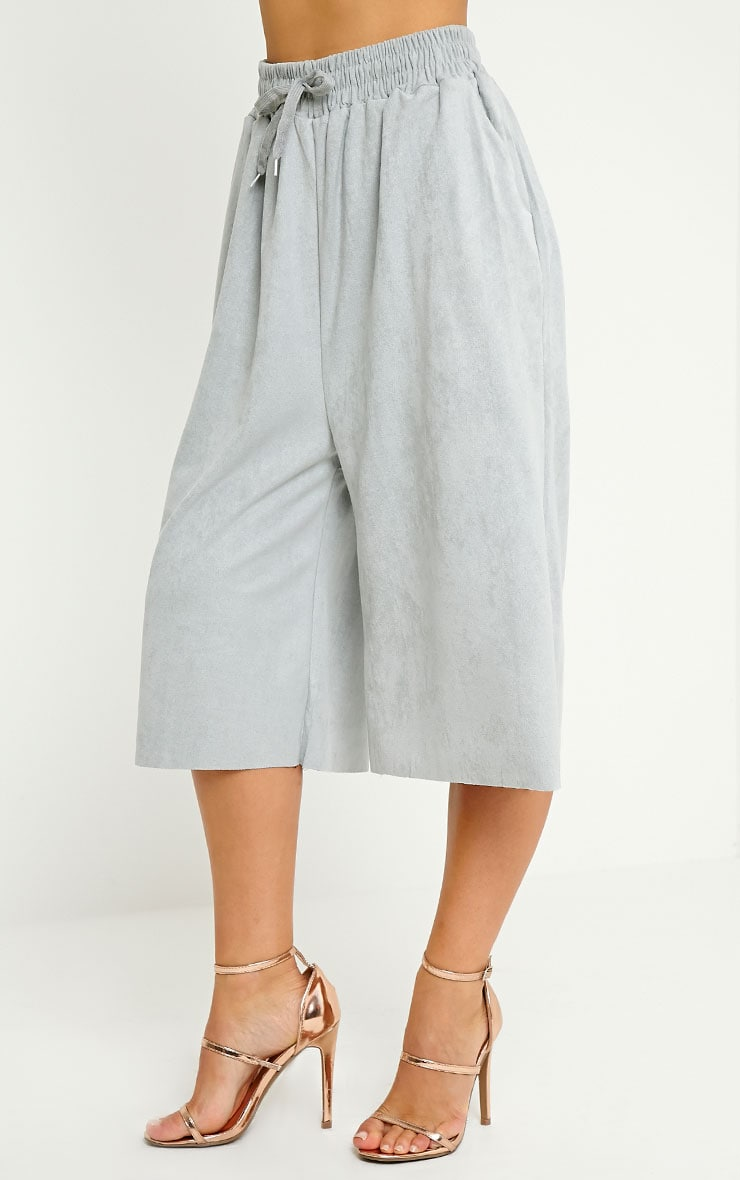 Eugenie Grey Faux Suede Culottes 3