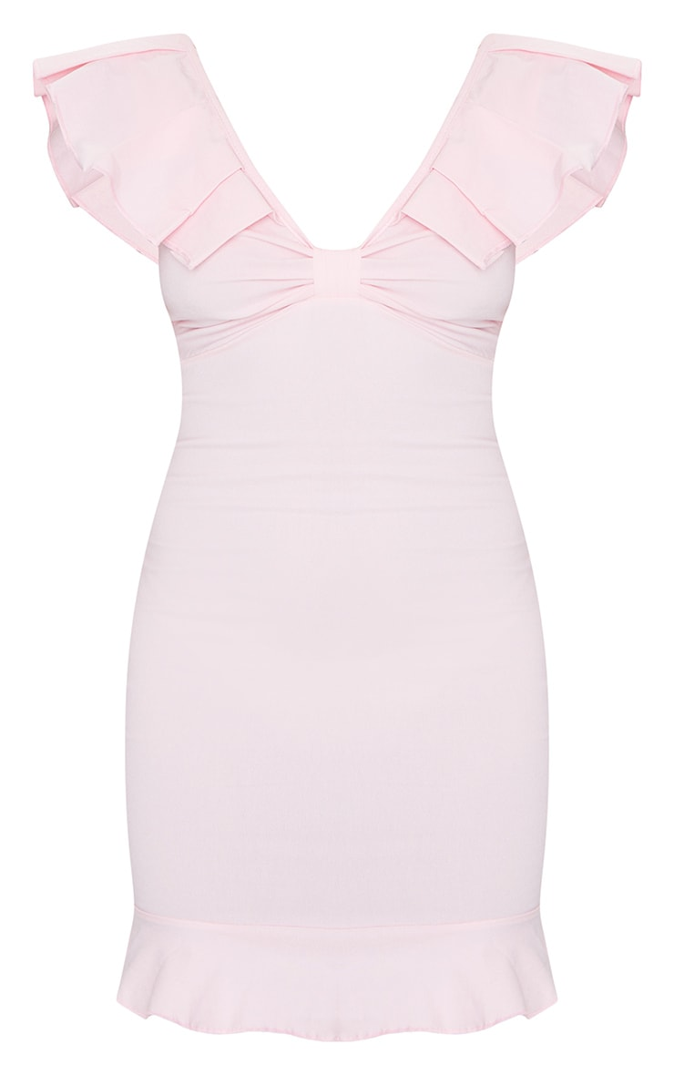 Petite Baby Pink Fitted Frill Detail Dress 5