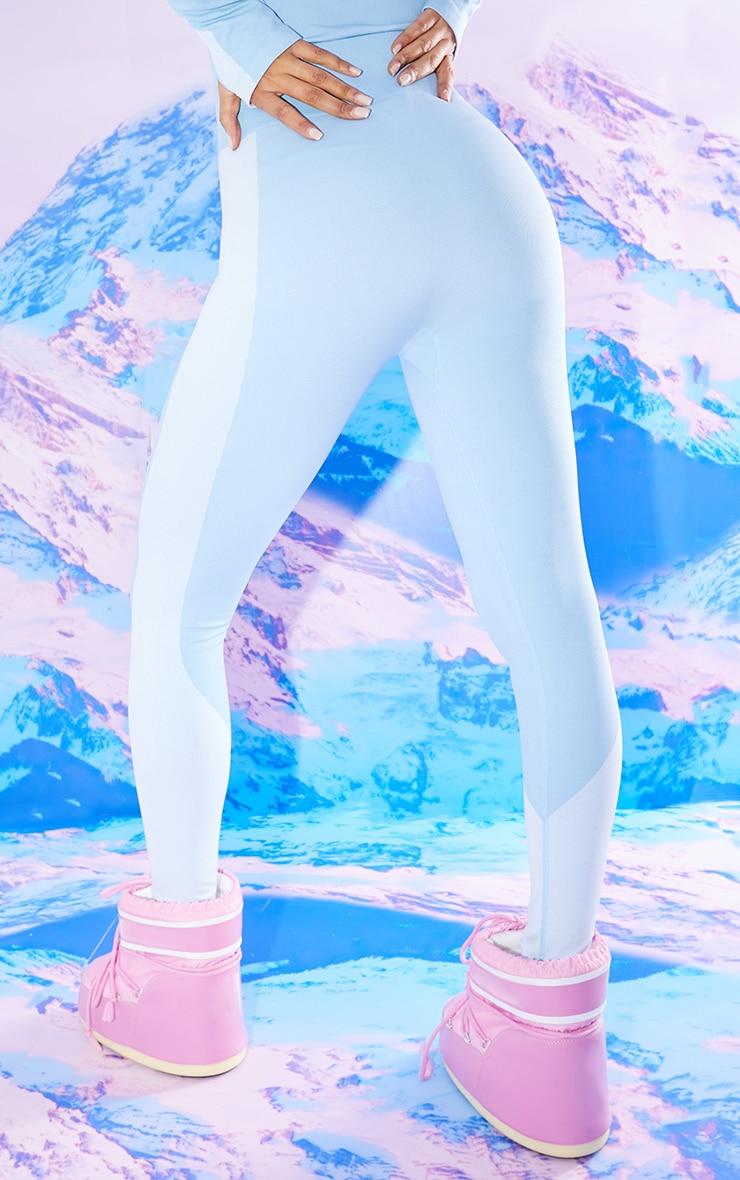 Blue Seamless Ski High Waist Leggings 3
