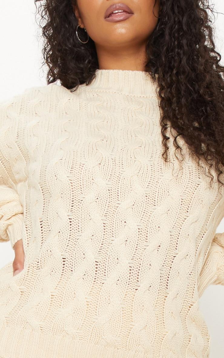 Plus Cream Cable Knit Jumper 5