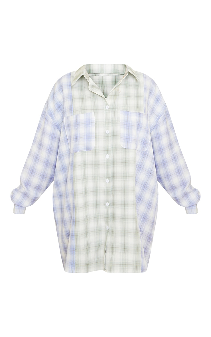 Petite Sage & Blue Mixed Checked Shirt Dress 5