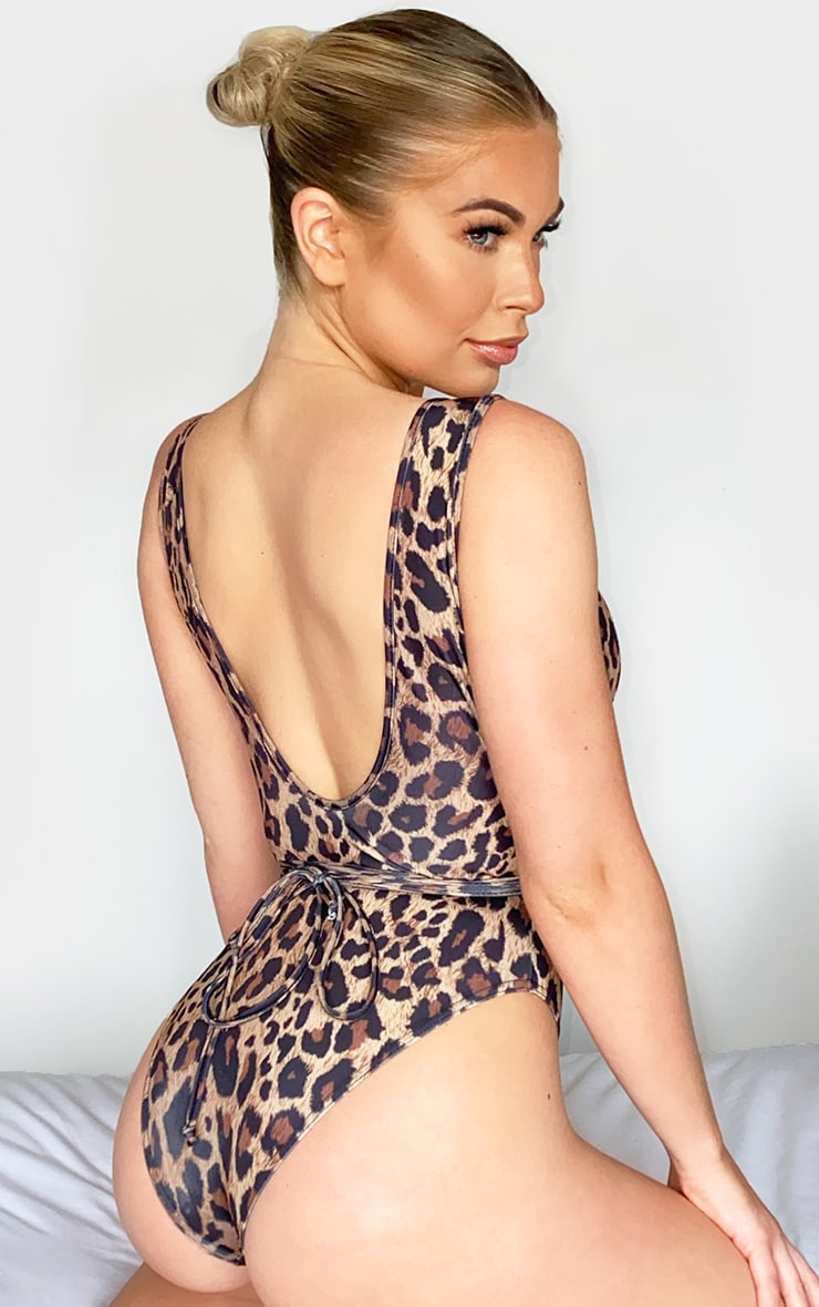 Leopard Print Cut Out Wrap Around Swimsuit 2