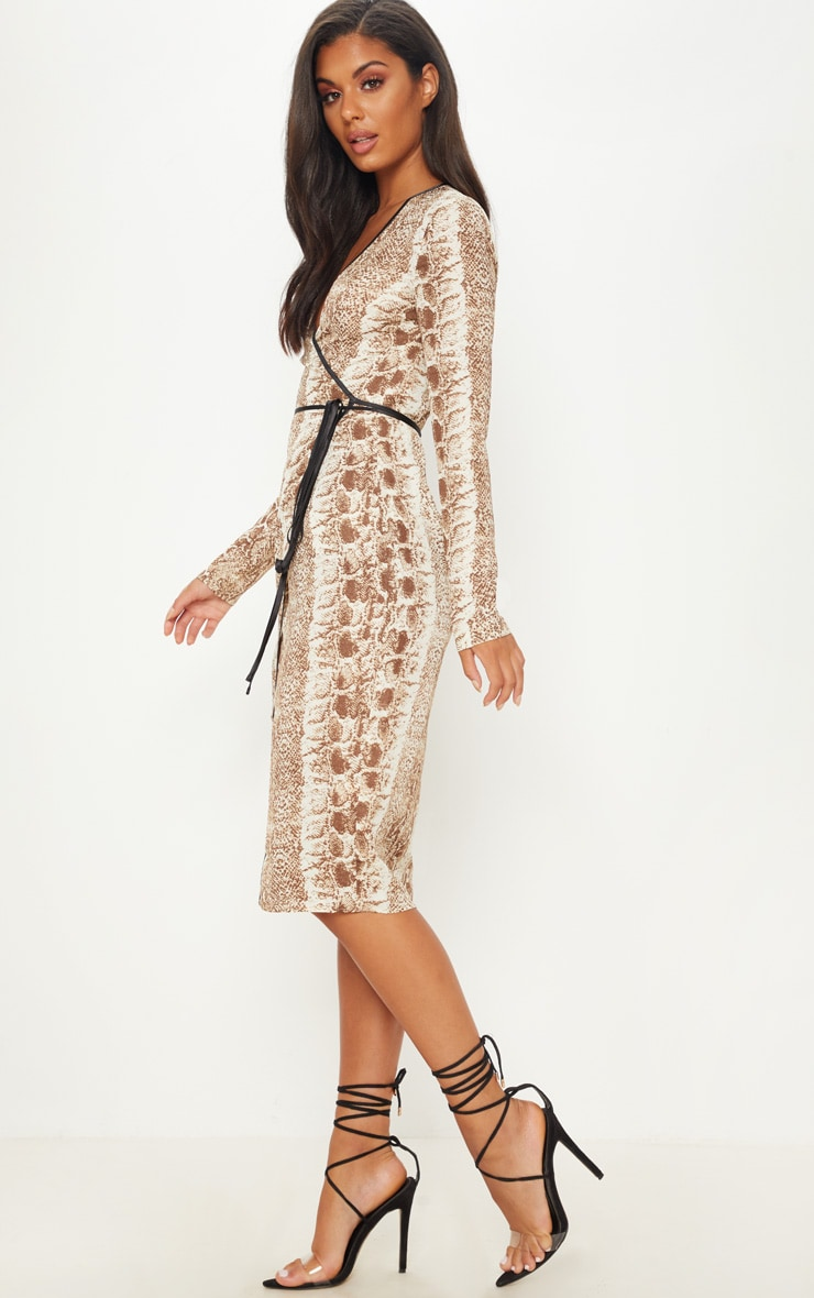 Tan Snake Print Binding Detail Wrap Midi Dress 4