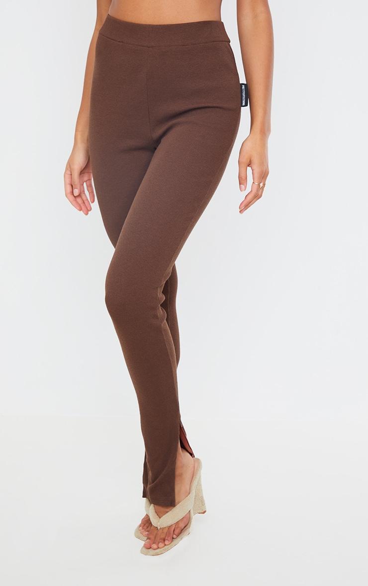PRETTYLITTLETHING Chocolate Ribbed Zip Split Hem Leggings 2