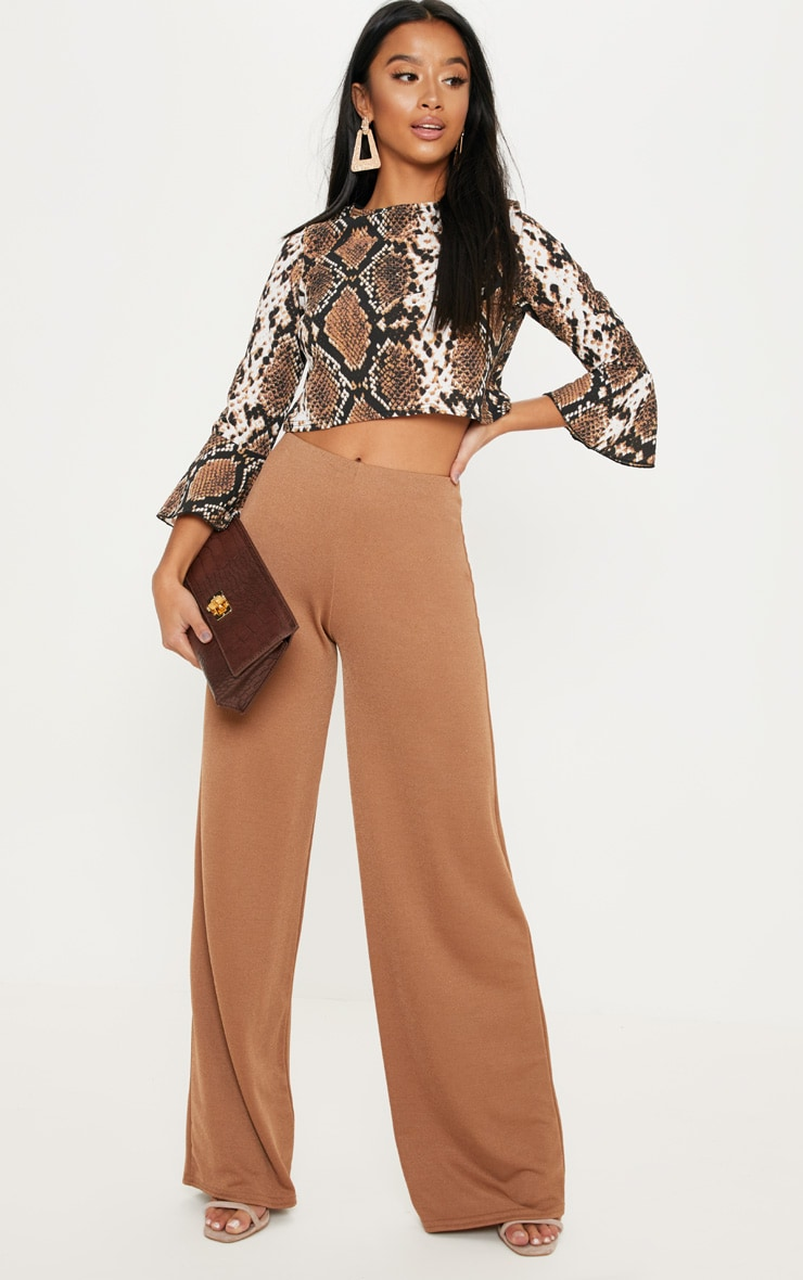 Petite Taupe Snake Print Cropped Blouse 3