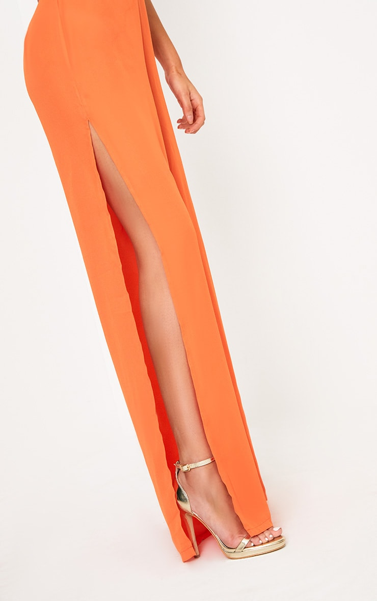 Orange Plunge Side Split Leg Jumpsuit  5