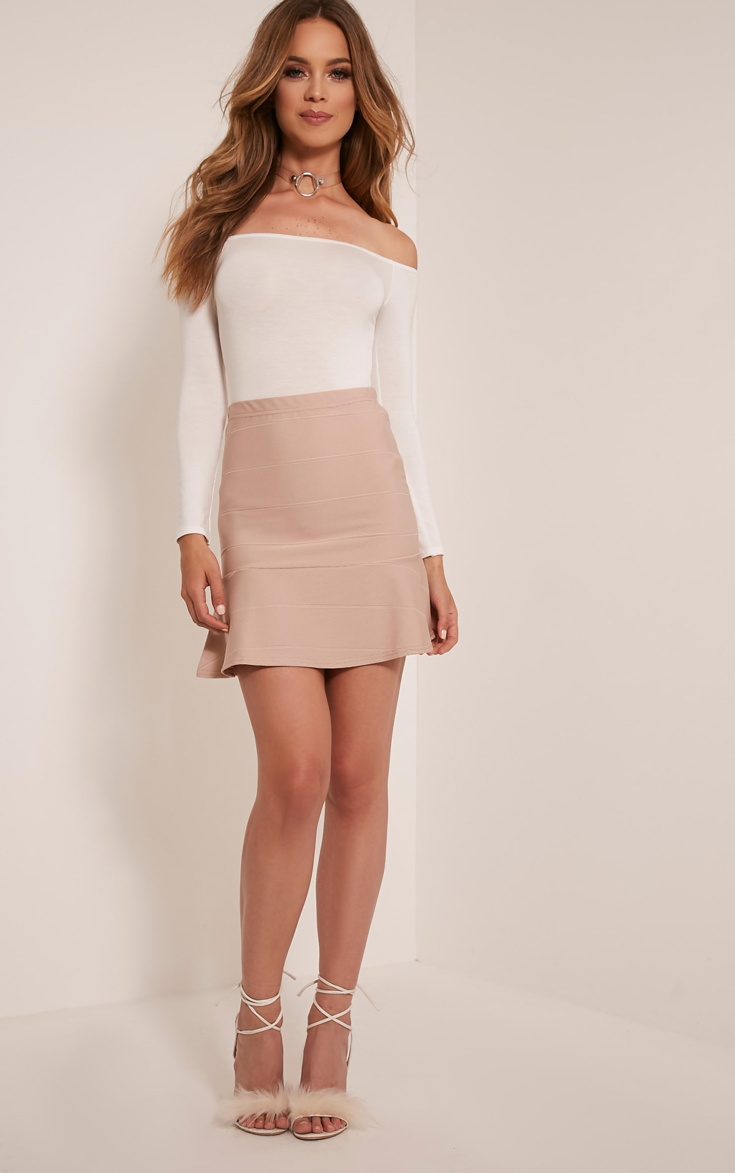 Addy Stone Bandage Flippy Hem Mini Skirt 5