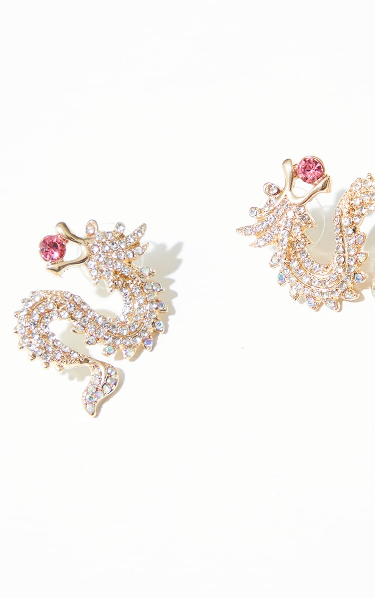 Gold Mini Diamante Pink Gem Dragon Earrings 2