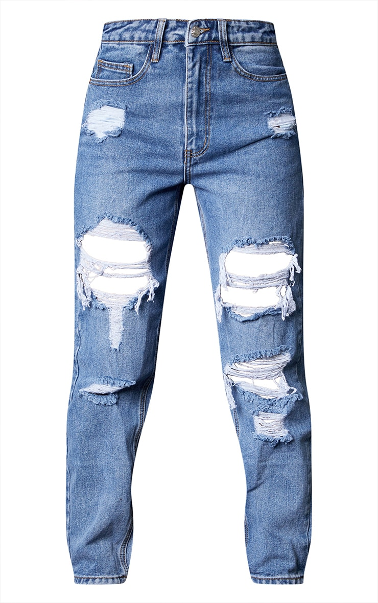 PRETTYLITTLETHING Mid Blue Ripped Mom Jeans 5