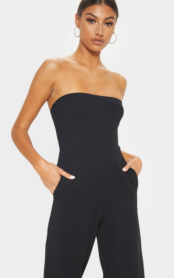 Tall Black Bandeau Culotte Jumpsuit 5