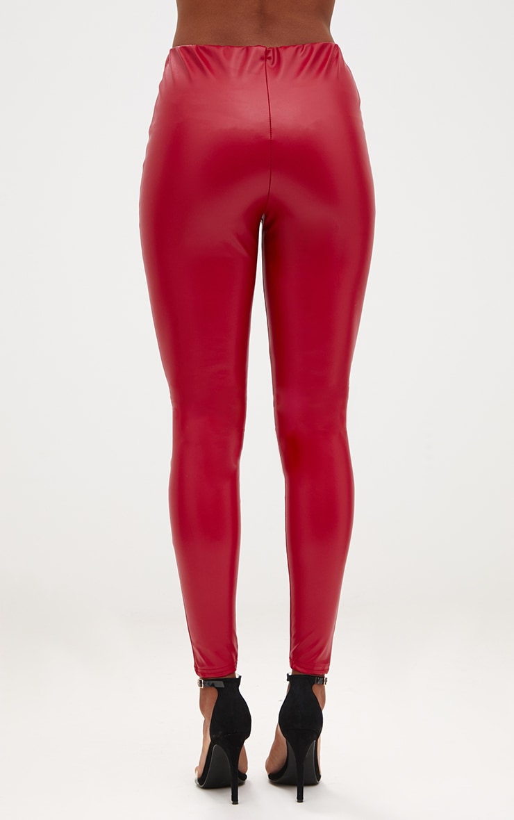 Red Faux Leather Highwaisted Leggings 4