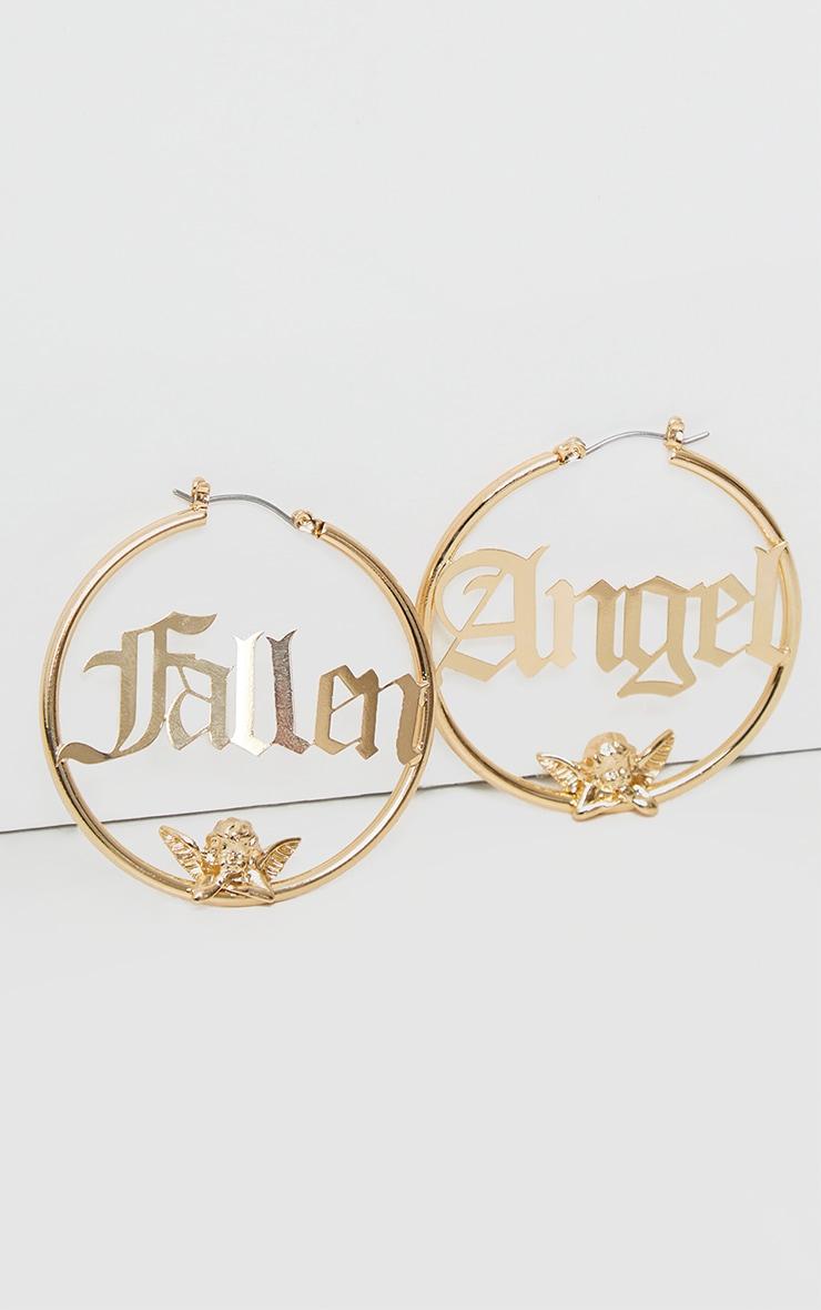 Gold Fallen Angel Hoop Earrings 3
