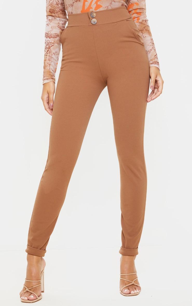 Camel Button Detail Skinny Trouser  2