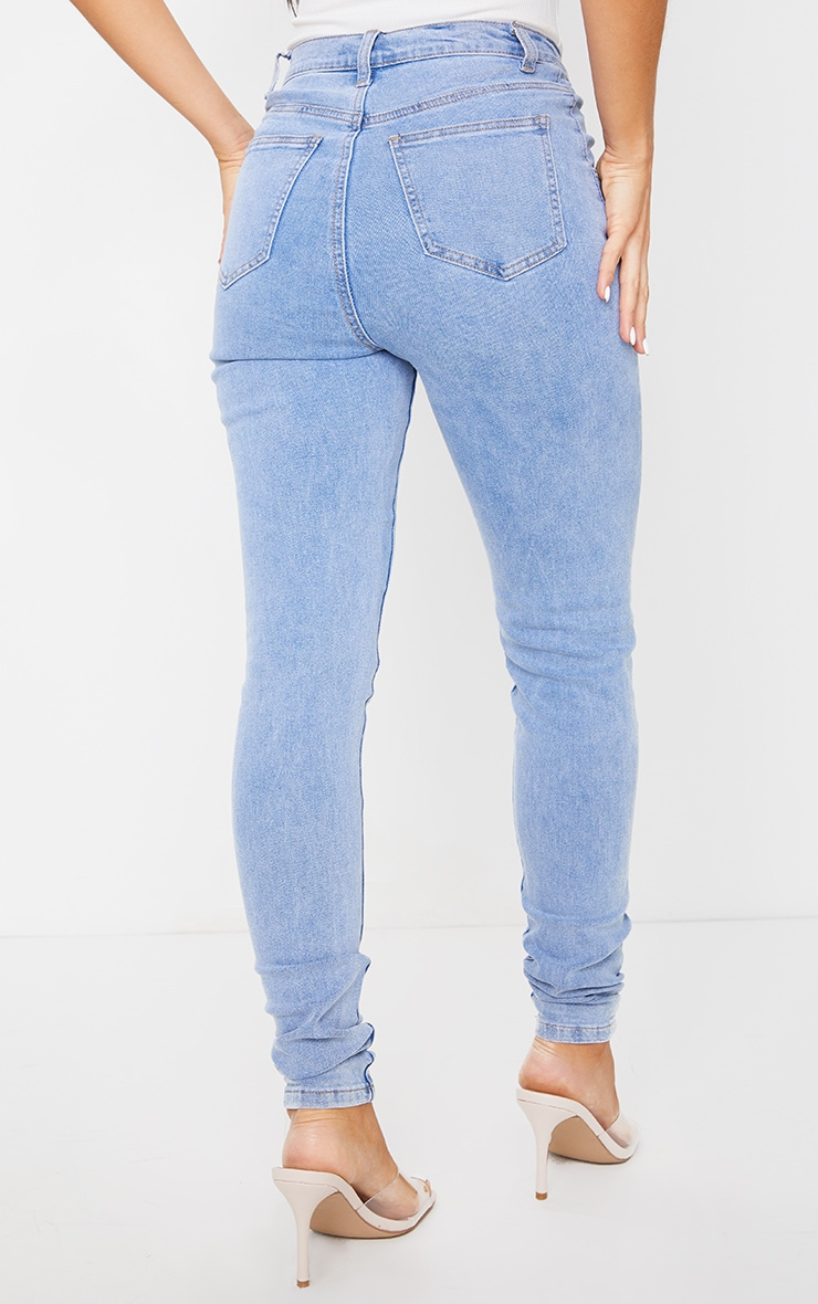 Light Blue Wash Dipped Waistband Skinny Jeans 3