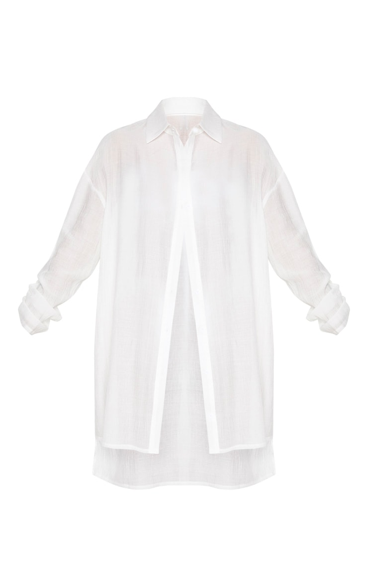 Ecru Oversized Beach Shirt Dress 3