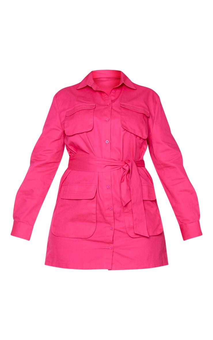 Plus Hot Pink Utility Shirt Dress 5