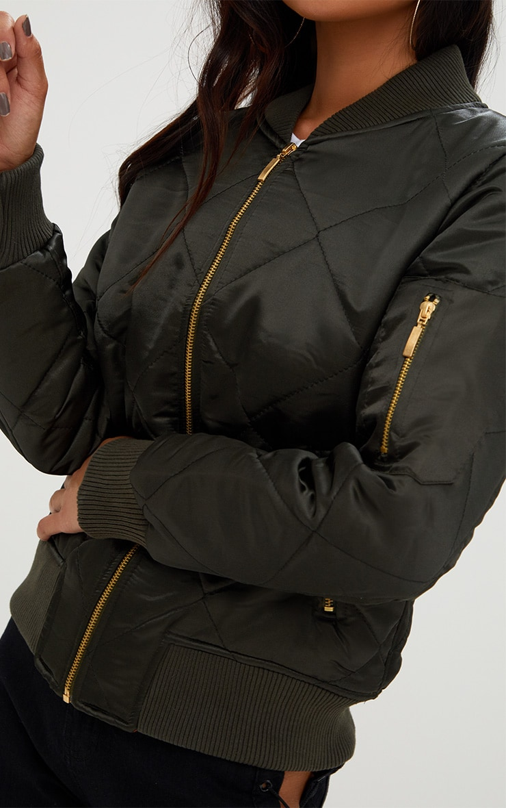 Khaki Satin Quilted Bomber Jacket 5