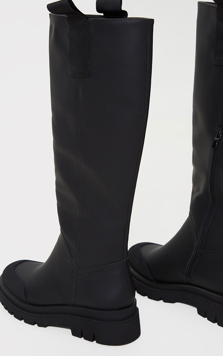 Black Rubber Chunky Sole Rain Boots 4
