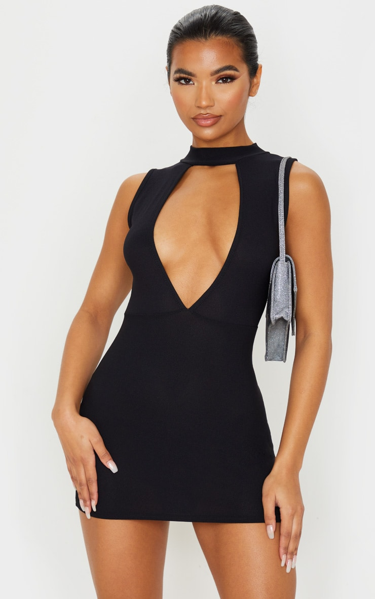 Black Plunge High Neck Bodycon Dress 1