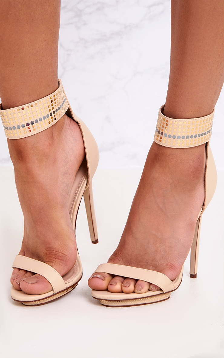 Mahira Nude Embellished Platform Strappy Heels 2