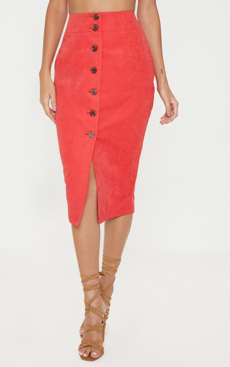 Red Faux Suede Button Front Midi Skirt 2