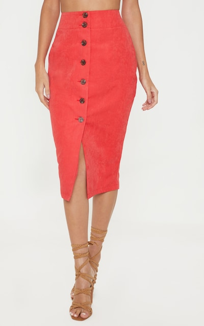 Red Faux Suede Button Front Midi Skirt