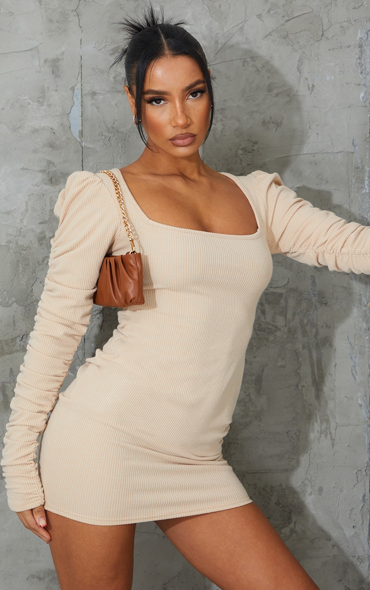 Nude Crinkle Rib Ruched Sleeve Square Neck Bodycon Dress 1