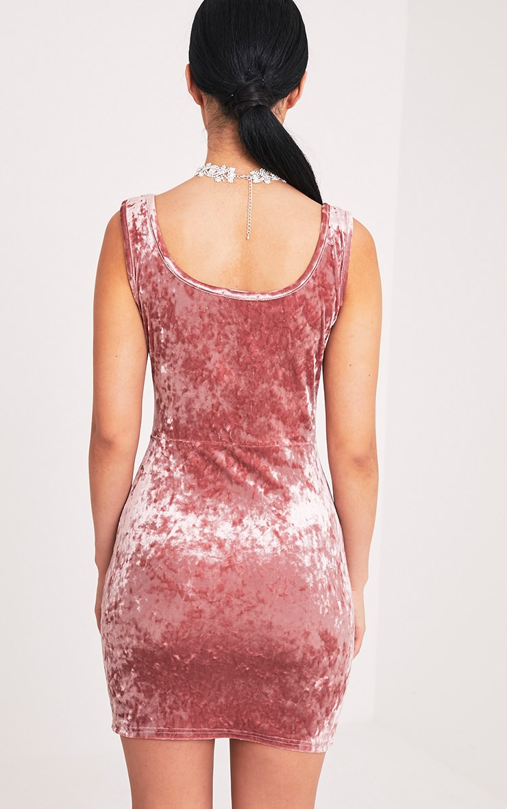 Falicia Dusty Pink Crushed Velvet Lace Up Bodycon Dress 2