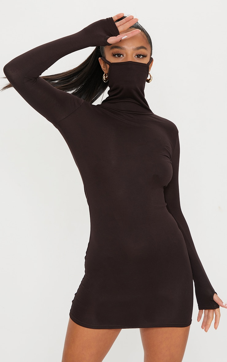 Petite Chocolate Brown Face Mask Bodycon Dress 1