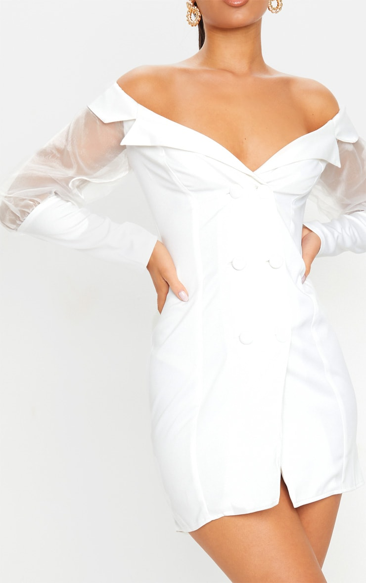 White Organza Bardot Sleeve Button Down Blazer Dress 4