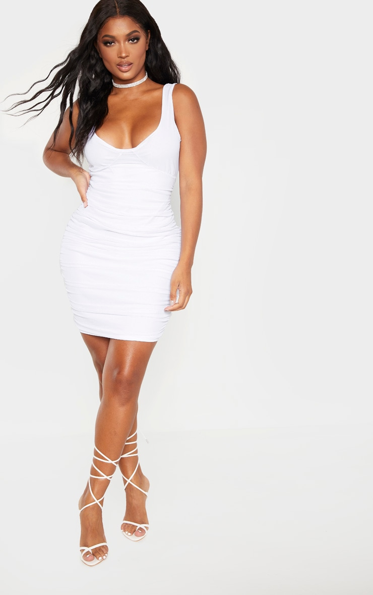 Shape White Mesh Cup Detail Bodycon Dress 4