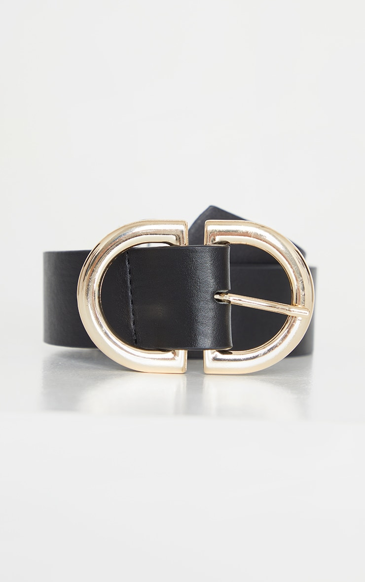 Black PU Gold D Buckle Detail Waist Belt 2