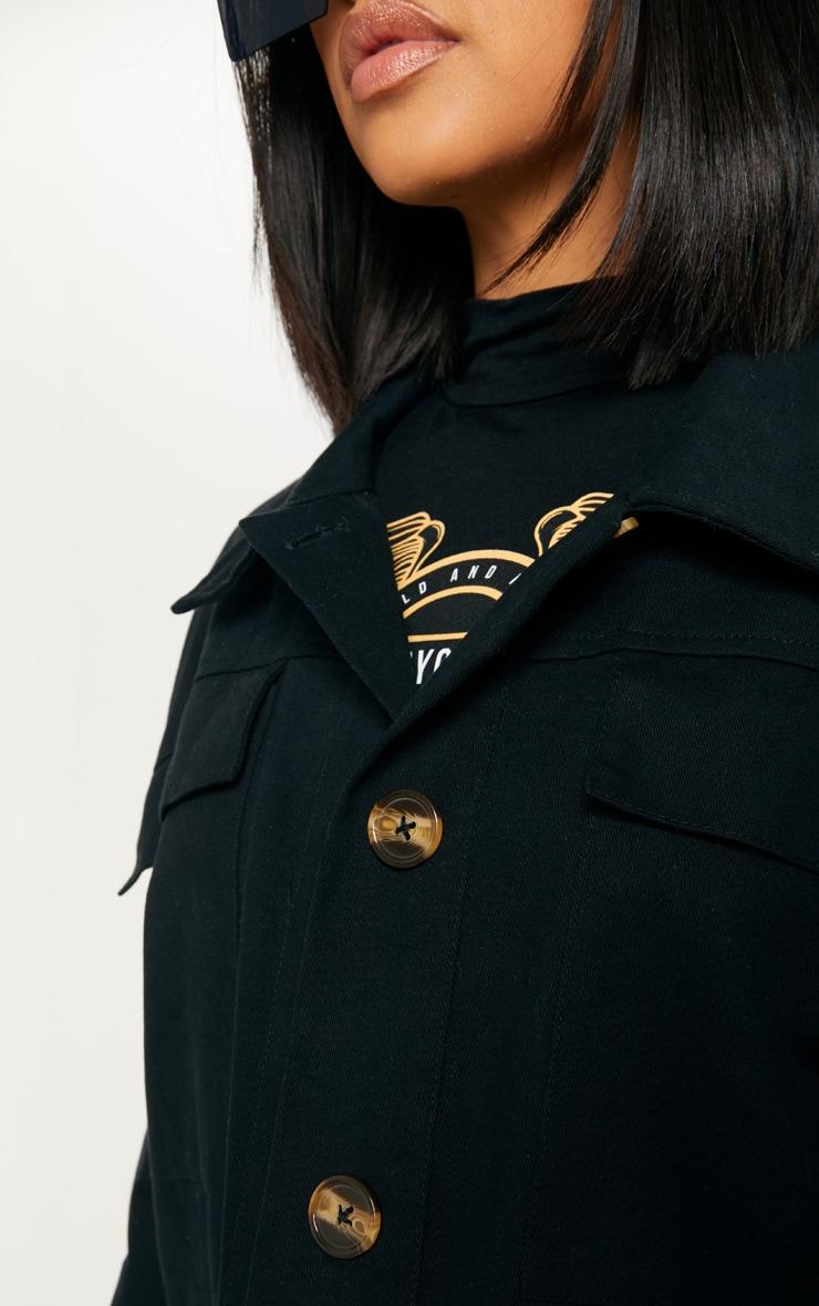 Black Woven Utility Jacket  5